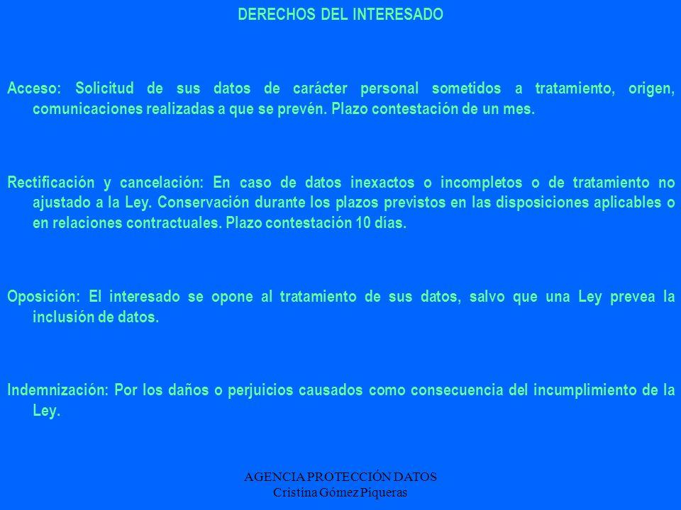 AGENCIA PROTECCIÓN DATOS Cristina Gómez Piqueras DERECHOS DEL INTERESADO Acceso: Solicitud de sus datos de carácter personal sometidos a tratamiento,