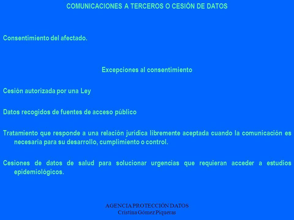 AGENCIA PROTECCIÓN DATOS Cristina Gómez Piqueras COMUNICACIONES A TERCEROS O CESIÓN DE DATOS Consentimiento del afectado. Excepciones al consentimient
