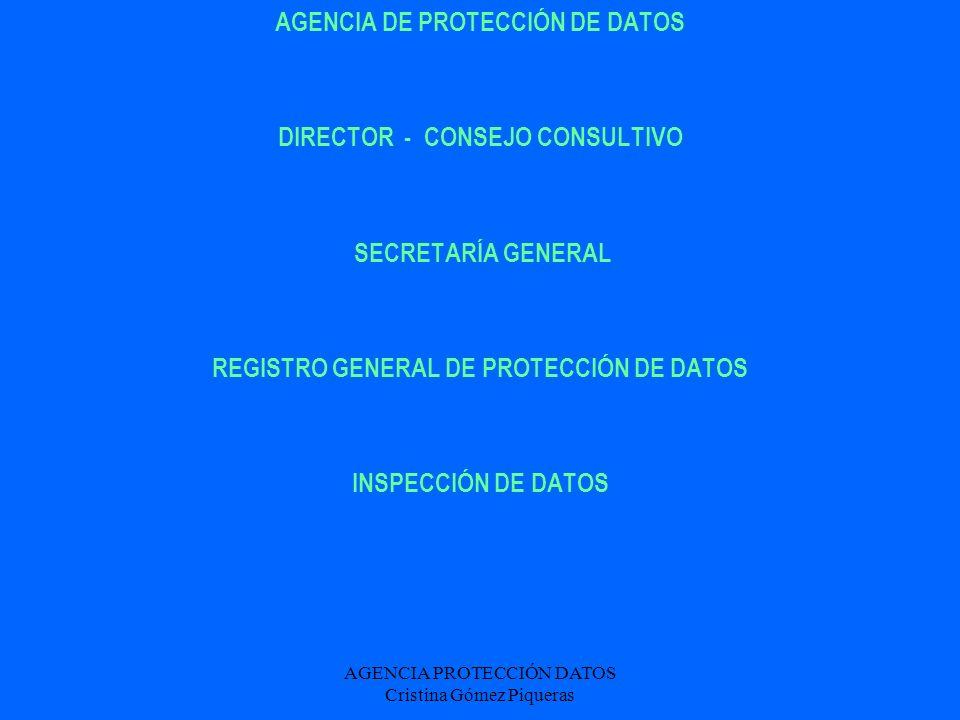 AGENCIA PROTECCIÓN DATOS Cristina Gómez Piqueras DEFINICIONES DATOS DE CARÁCTER PERSONAL / DATOS DISOCIADOS DATOS DE SALUD / DATOS MÉDICOS / DATOS GENÉTICOS FICHEROS PÚBLICOS (APDCM) / FICHEROS PRIVADOS (APD)