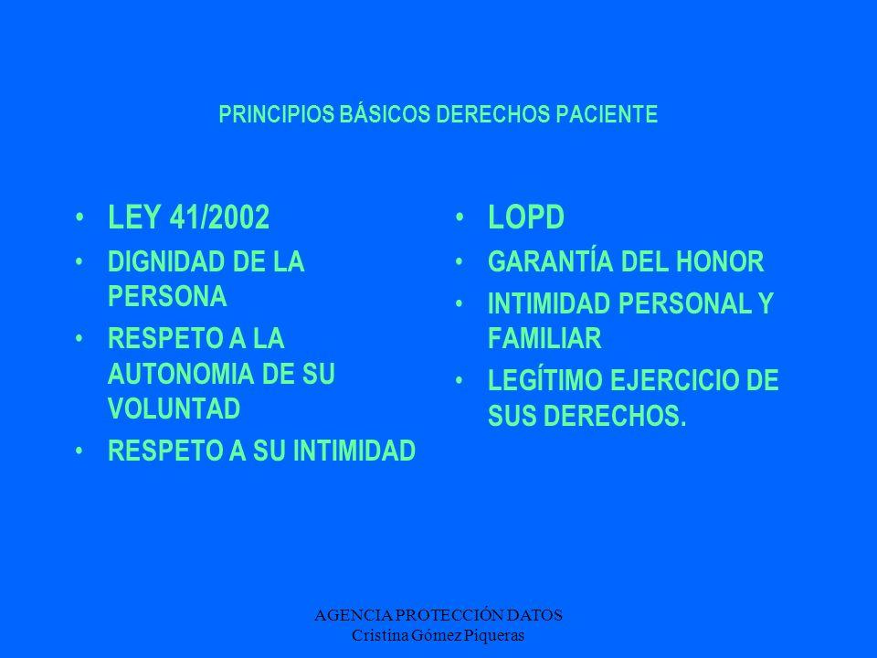 AGENCIA PROTECCIÓN DATOS Cristina Gómez Piqueras PRINCIPIOS BÁSICOS DERECHOS PACIENTE LEY 41/2002 DIGNIDAD DE LA PERSONA RESPETO A LA AUTONOMIA DE SU