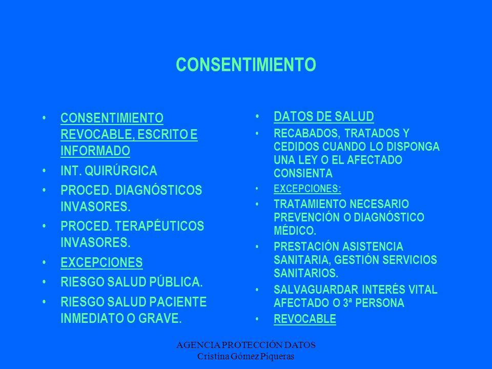 AGENCIA PROTECCIÓN DATOS Cristina Gómez Piqueras HISTORIA CLÍNICA - ACCESO FINALIDAD:FACILITAR ASISTENCIA SANITARIA ACCESO PROFESIONALES PARA ASISTENCIA ADECUADA, JUSTIFICADOS FINES JUDICIALES, EPIDEMIOLÓGICOS, SALUD PÚBLICA, INVESTIGACIÓN Y DOCENCIA.
