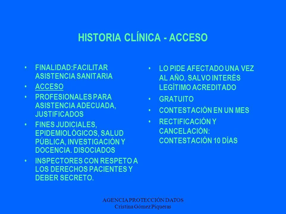 AGENCIA PROTECCIÓN DATOS Cristina Gómez Piqueras HISTORIA CLÍNICA - ACCESO FINALIDAD:FACILITAR ASISTENCIA SANITARIA ACCESO PROFESIONALES PARA ASISTENC