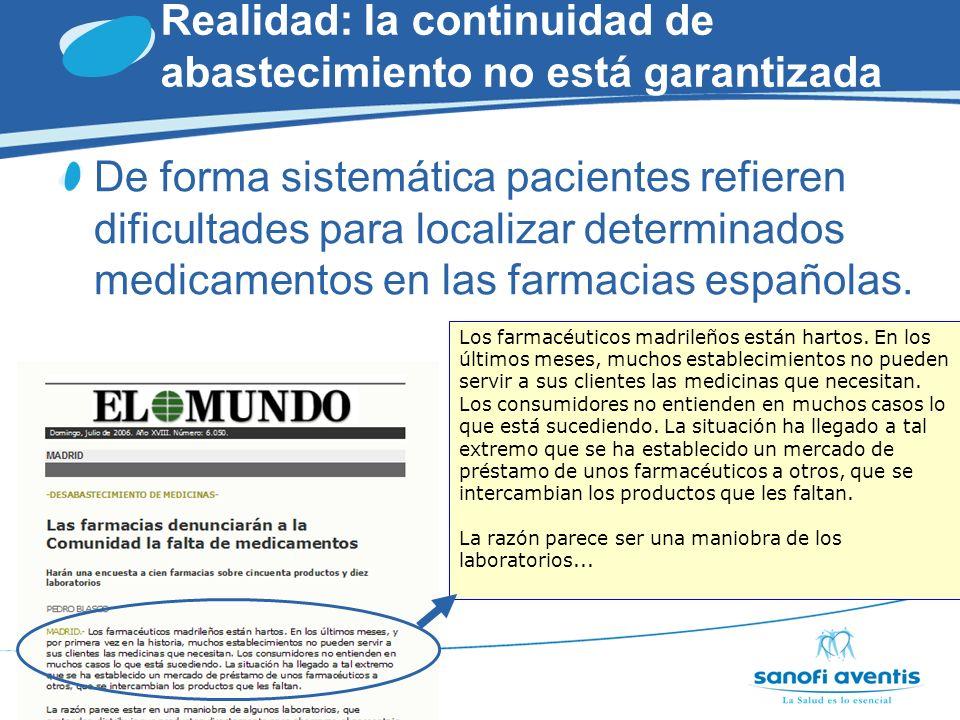 Realidad: la continuidad de abastecimiento no está garantizada El propio MSC llegó a acotar el problema, con compromiso de seguimiento y actualización periódica.