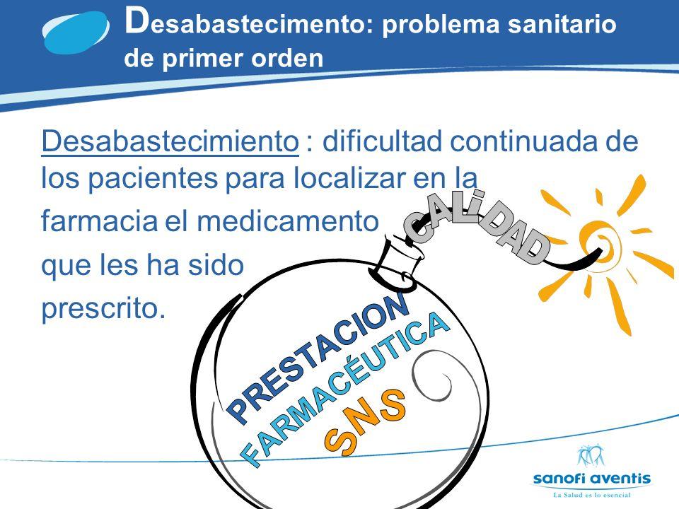 MEDICO D esabastecimento: problema sanitario de primer orden MSC CCAA DISTRIBUCIÓN INDUSTRIA FARMACIAS PACIENTE
