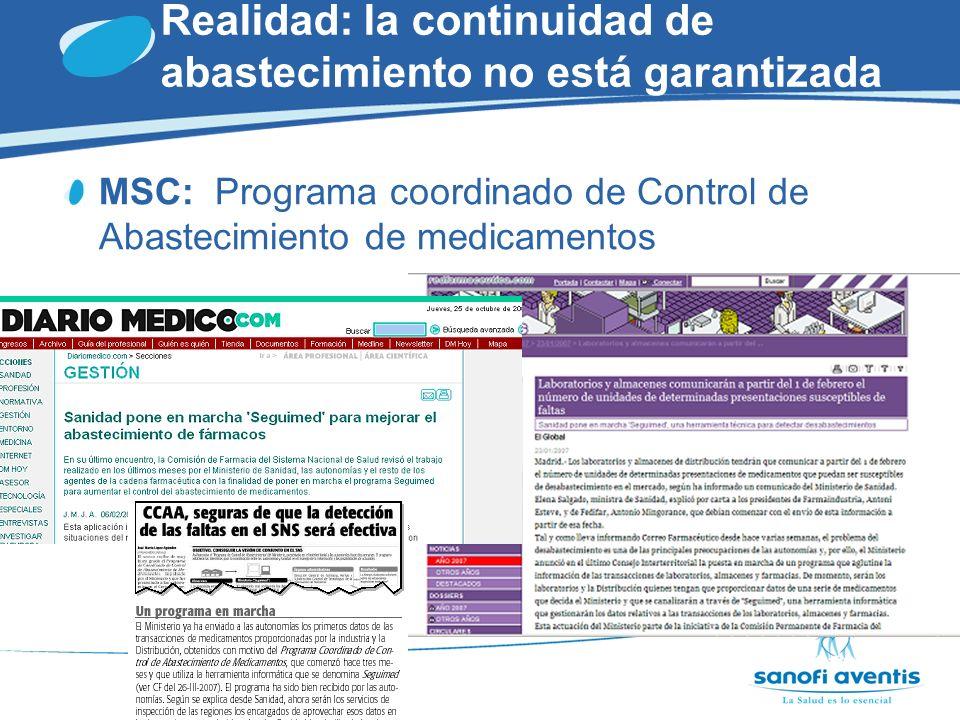 Realidad: la continuidad de abastecimiento no está garantizada CCAA: Programas de identificación de riesgos para suministro.