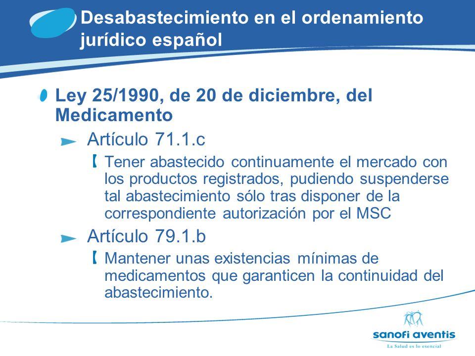 Desabastecimiento en el ordenamiento jurídico español En este marco legal… Aun existiendo pruebas objetivas de que un LABORATORIO había respetado la obligación de CONTINUIDAD DE SUMINISTRO ….