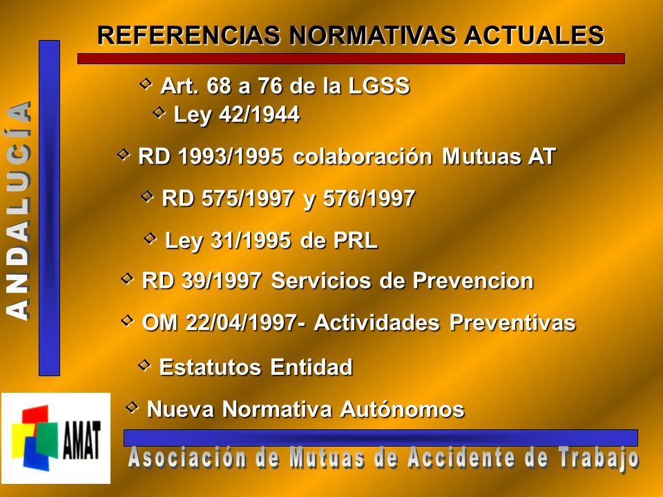 REFERENCIAS NORMATIVAS ACTUALES Art.68 a 76 de la LGSS Art.