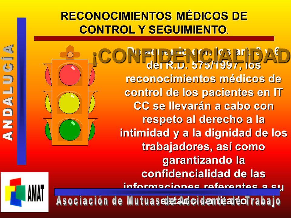 RECONOCIMIENTOS MÉDICOS DE CONTROL Y SEGUIMIENTO. Art. 6.3 R.D. 575/1997 La negatividad infundada a someterse a tales reconocimientos dará lugar a la