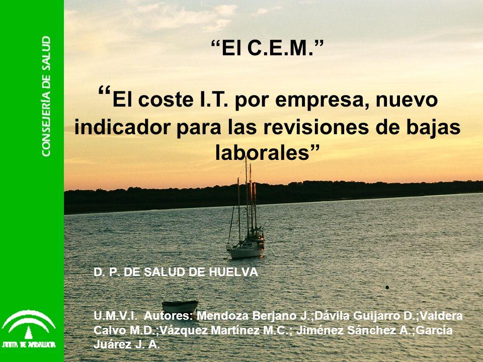 D. P. DE SALUD DE HUELVA U.M.V.I. Autores: Mendoza Berjano J.;Dávila Guijarro D.;Valdera Calvo M.D.;Vázquez Martínez M.C.; Jiménez Sánchez A.;García J