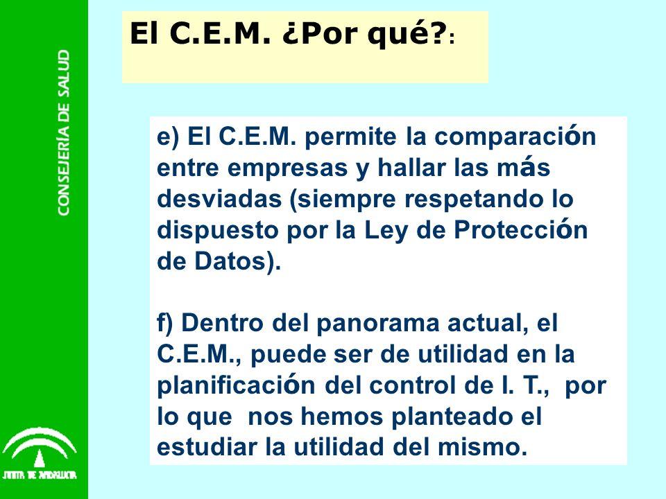 El C.E.M. ¿Por qué? : e) El C.E.M. permite la comparaci ó n entre empresas y hallar las m á s desviadas (siempre respetando lo dispuesto por la Ley de