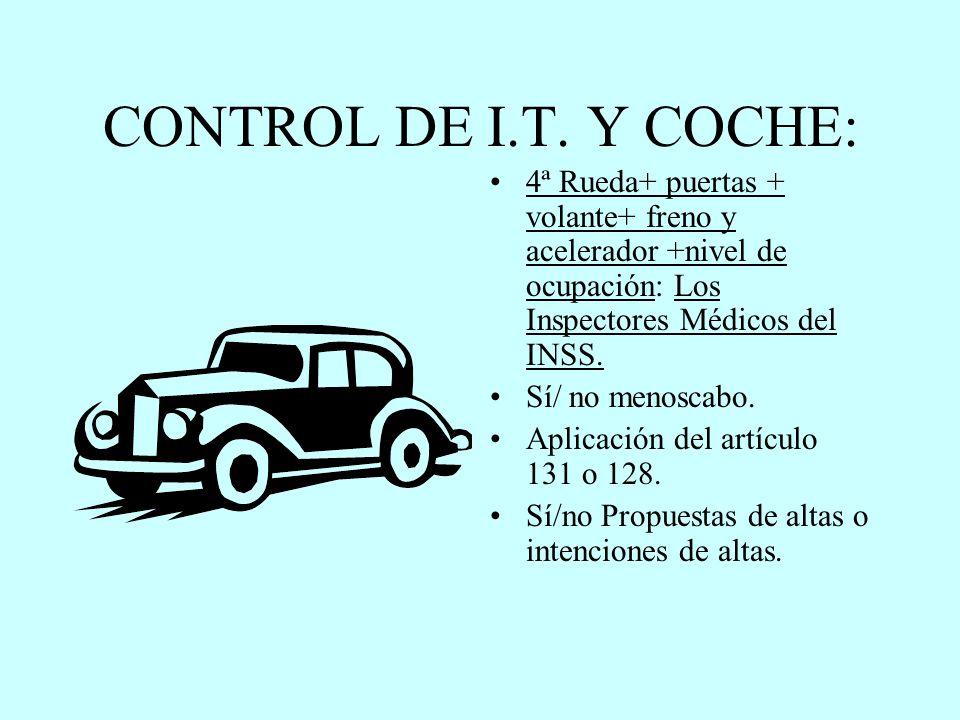 CONTROL DE I.T. Y COCHE: 4ª Rueda+ puertas + volante+ freno y acelerador +nivel de ocupación: Los Inspectores Médicos del INSS. Sí/ no menoscabo. Apli