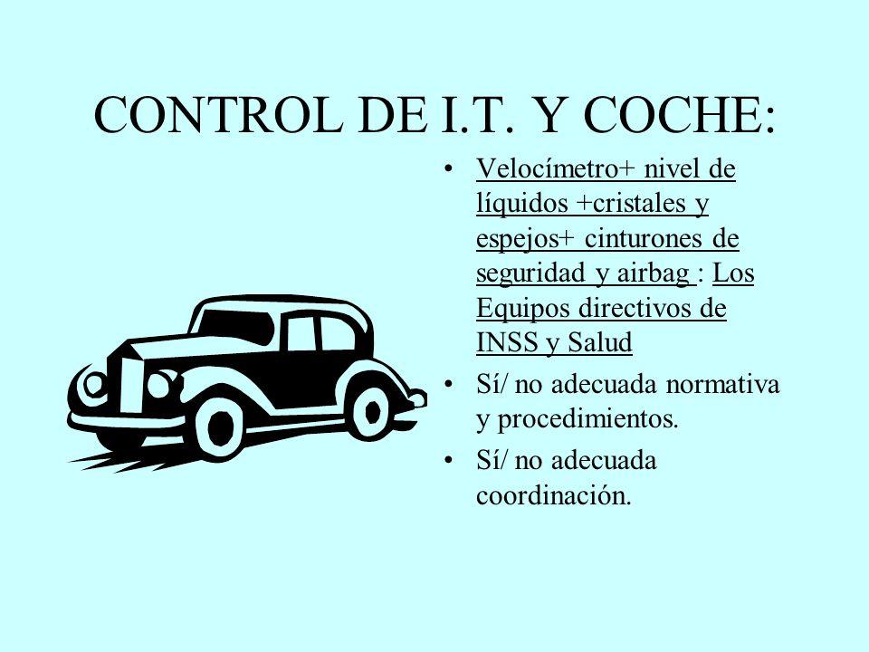 CONTROL DE I.T. Y COCHE: Velocímetro+ nivel de líquidos +cristales y espejos+ cinturones de seguridad y airbag : Los Equipos directivos de INSS y Salu