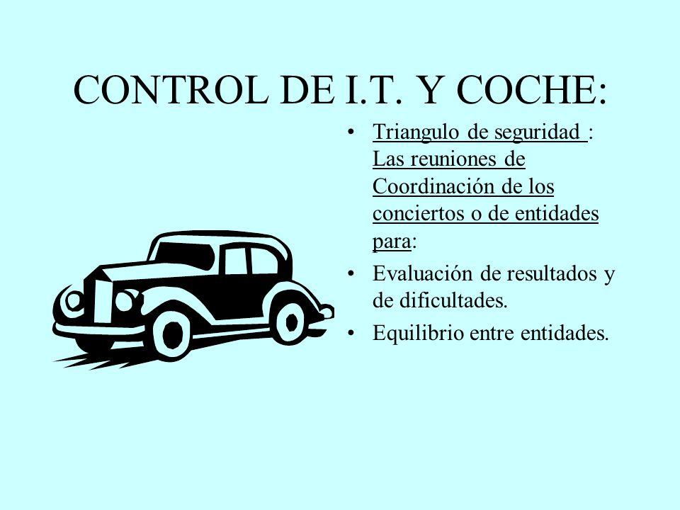 CONTROL DE I.T. Y COCHE: Triangulo de seguridad : Las reuniones de Coordinación de los conciertos o de entidades para: Evaluación de resultados y de d