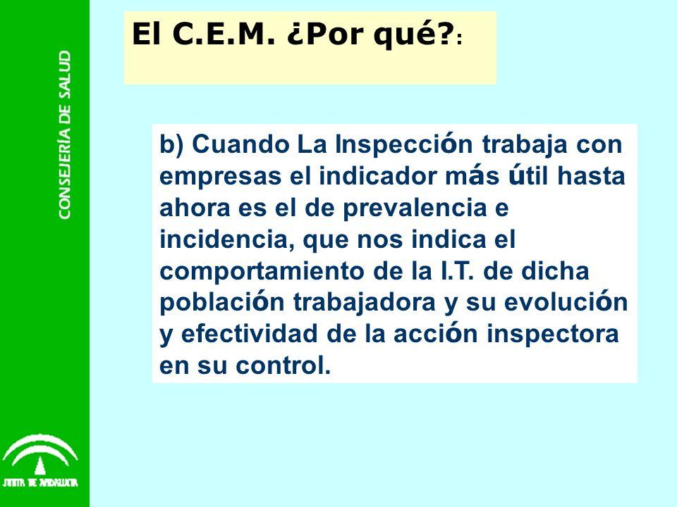 El C.E.M. ¿Por qué? : b) Cuando La Inspecci ó n trabaja con empresas el indicador m á s ú til hasta ahora es el de prevalencia e incidencia, que nos i