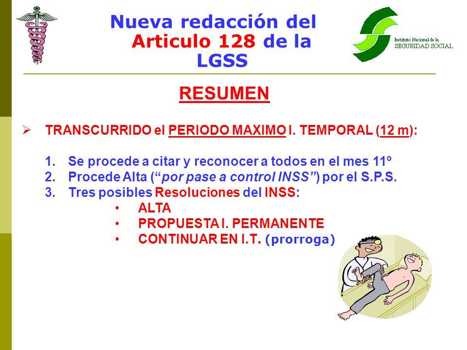 Nueva redacción del Articulo 128 de la LGSS RESUMEN TRANSCURRIDO el PERIODO MAXIMO I. TEMPORAL (12 m): 1.Se procede a citar y reconocer a todos en el