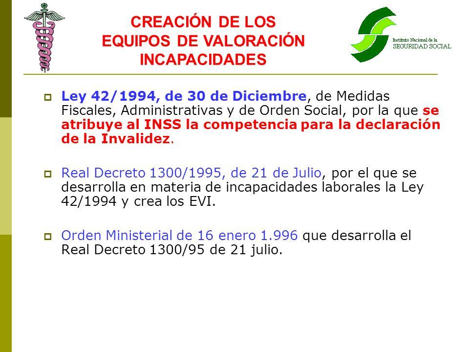 Ley 42/1994, de 30 de Diciembre, de Medidas Fiscales, Administrativas y de Orden Social, por la que se atribuye al INSS la competencia para la declara