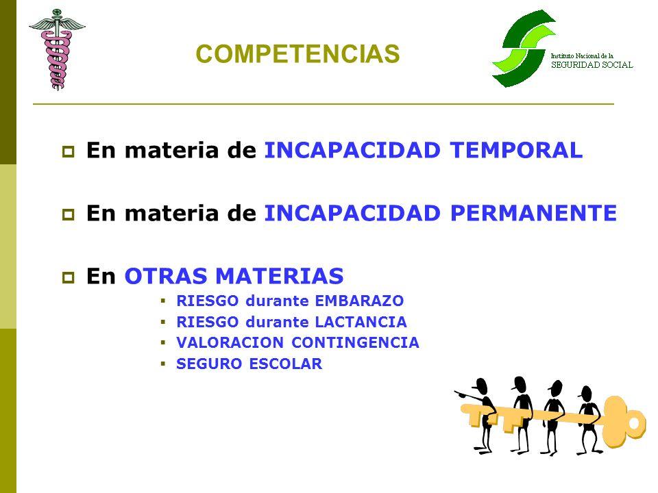 COMPETENCIAS En materia de INCAPACIDAD TEMPORAL En materia de INCAPACIDAD PERMANENTE En OTRAS MATERIAS RIESGO durante EMBARAZO RIESGO durante LACTANCI