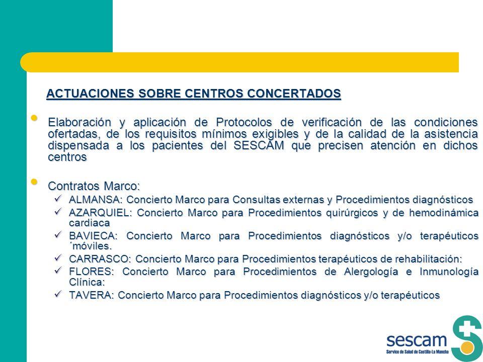 ACTUACIONES SOBRE CENTROS CONCERTADOS ACTUACIONES SOBRE CENTROS CONCERTADOS Elaboración y aplicación de Protocolos de verificación de las condiciones