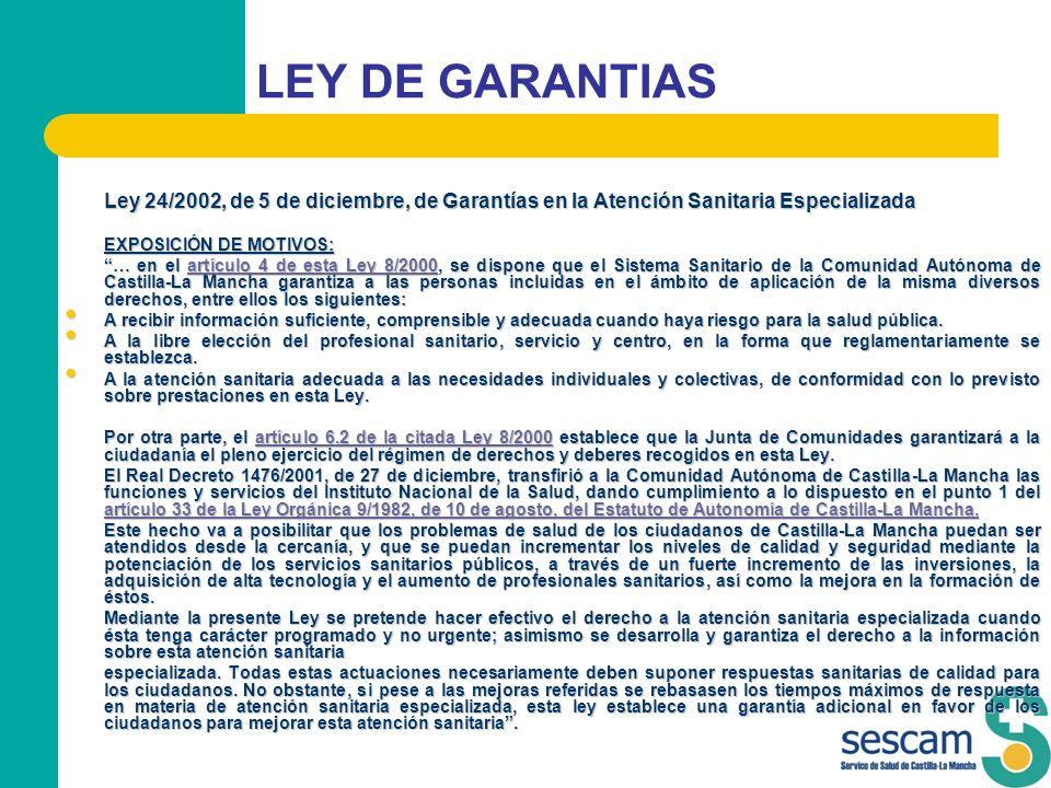 LEY DE GARANTIAS Ley 24/2002, de 5 de diciembre, de Garantías en la Atención Sanitaria Especializada Ley 24/2002, de 5 de diciembre, de Garantías en l