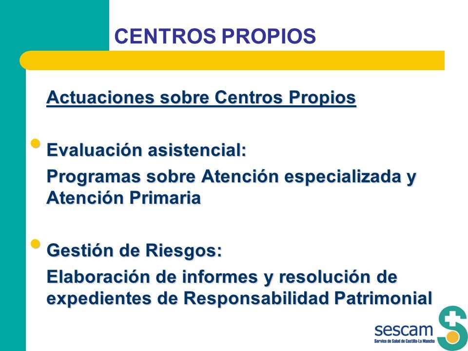 CENTROS PROPIOS Actuaciones sobre Centros Propios Evaluación asistencial: Evaluación asistencial: Programas sobre Atención especializada y Atención Pr
