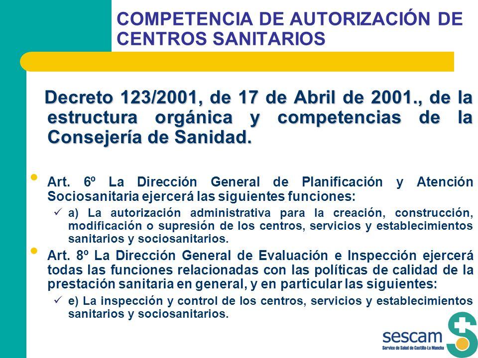 COMPETENCIA DE AUTORIZACIÓN DE CENTROS SANITARIOS Decreto 123/2001, de 17 de Abril de 2001., de la estructura orgánica y competencias de la Consejería