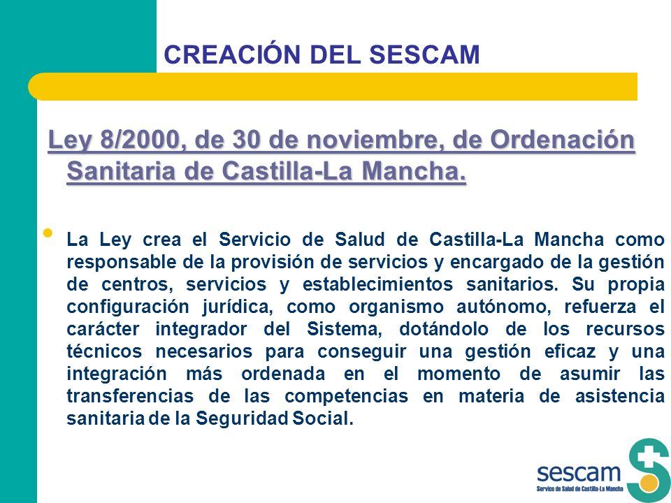 CREACIÓN DEL SESCAM Ley 8/2000, de 30 de noviembre, de Ordenación Sanitaria de Castilla-La Mancha. Ley 8/2000, de 30 de noviembre, de Ordenación Sanit