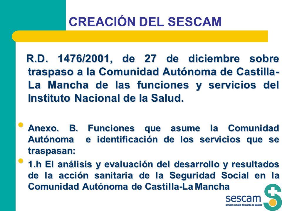CREACIÓN DEL SESCAM R.D. 1476/2001, de 27 de diciembre sobre traspaso a la Comunidad Autónoma de Castilla- La Mancha de las funciones y servicios del