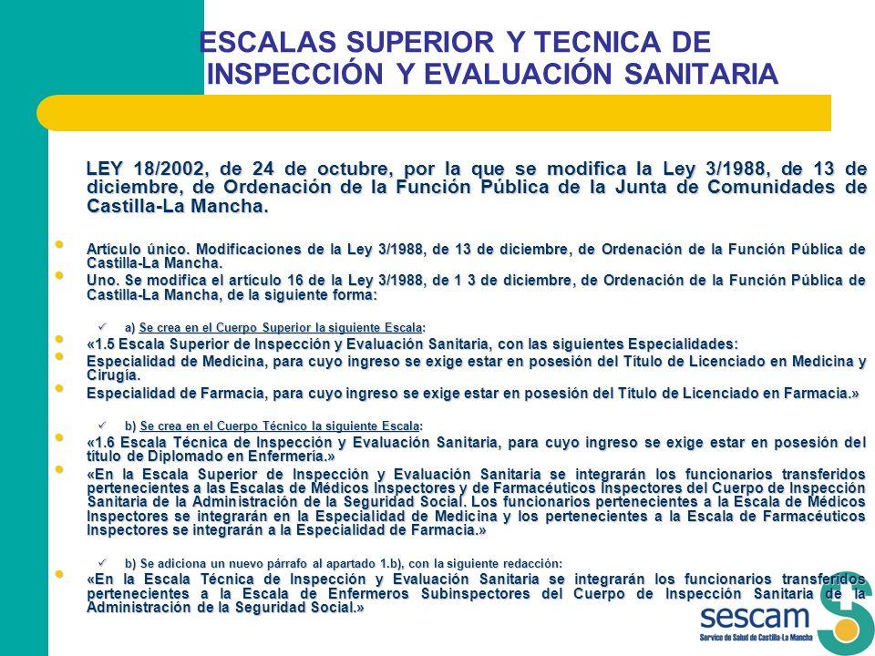 ESCALAS SUPERIOR Y TECNICA DE INSPECCIÓN Y EVALUACIÓN SANITARIA LEY 18/2002, de 24 de octubre, por la que se modifica la Ley 3/1988, de 13 de diciembr