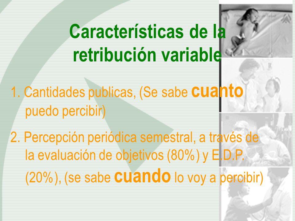 Características de la retribución variable 1. Cantidades publicas, (Se sabe cuanto puedo percibir) 2. Percepción periódica semestral, a través de la e