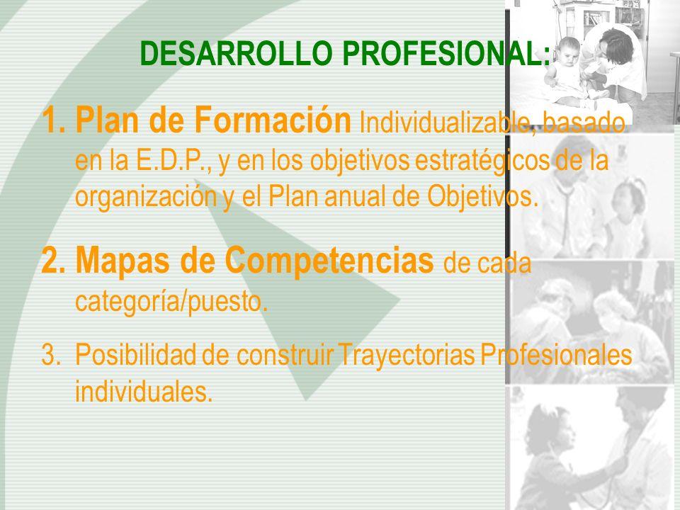 DESARROLLO PROFESIONAL: 1.Plan de Formación Individualizable, basado en la E.D.P., y en los objetivos estratégicos de la organización y el Plan anual