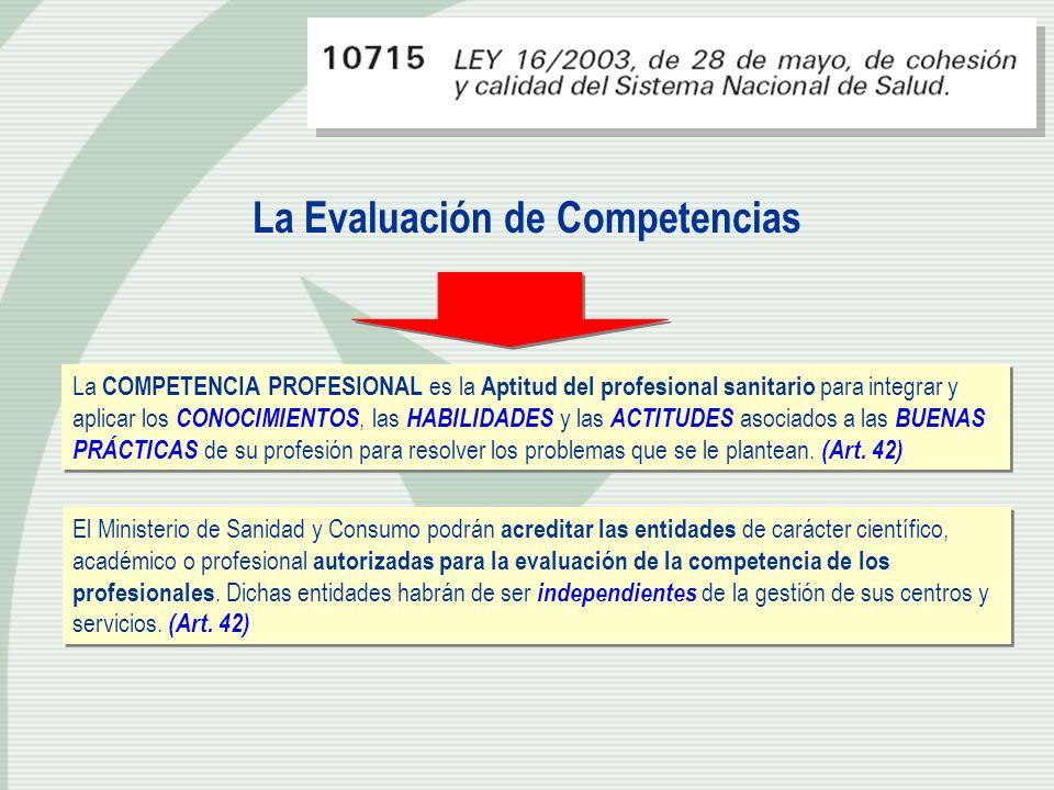 La Evaluación de Competencias La COMPETENCIA PROFESIONAL es la Aptitud del profesional sanitario para integrar y aplicar los CONOCIMIENTOS, las HABILI