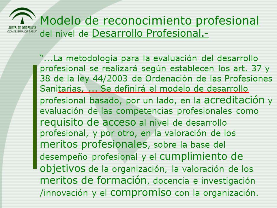 Modelo de reconocimiento profesional del nivel de Desarrollo Profesional.-...La metodología para la evaluación del desarrollo profesional se realizará