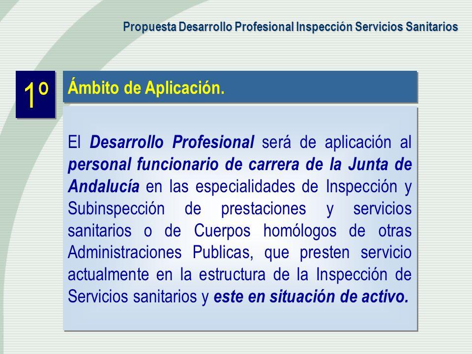 1º Ámbito de Aplicación. El Desarrollo Profesional será de aplicación al personal funcionario de carrera de la Junta de Andalucía en las especialidade