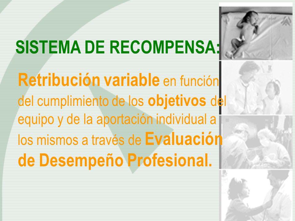 SISTEMA DE RECOMPENSA: Retribución variable en función del cumplimiento de los objetivos del equipo y de la aportación individual a los mismos a travé