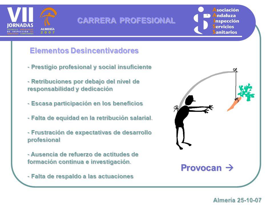 Elementos Desincentivadores - Prestigio profesional y social insuficiente - Retribuciones por debajo del nivel de responsabilidad y dedicación - Escas