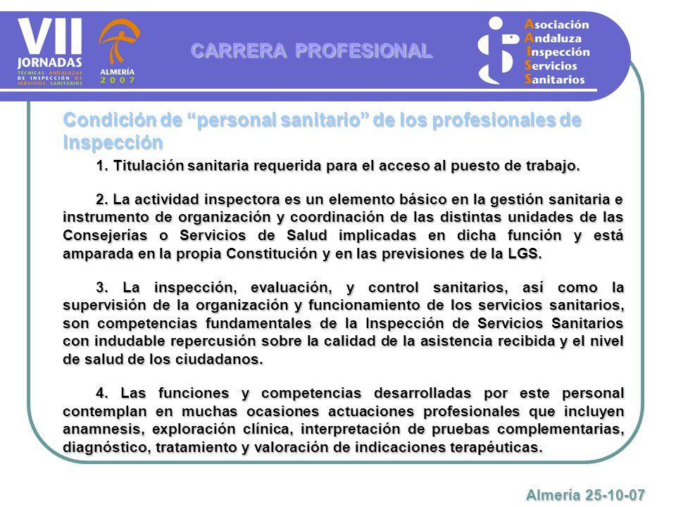 1. Titulación sanitaria requerida para el acceso al puesto de trabajo. 2. La actividad inspectora es un elemento básico en la gestión sanitaria e inst