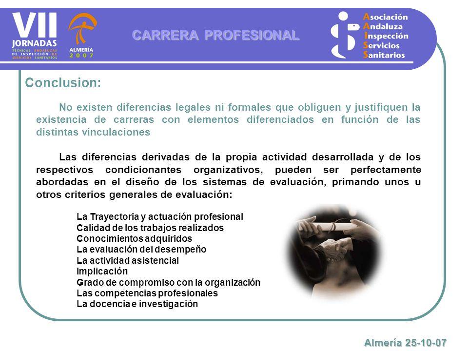 Conclusion: CARRERA PROFESIONAL No existen diferencias legales ni formales que obliguen y justifiquen la existencia de carreras con elementos diferenc
