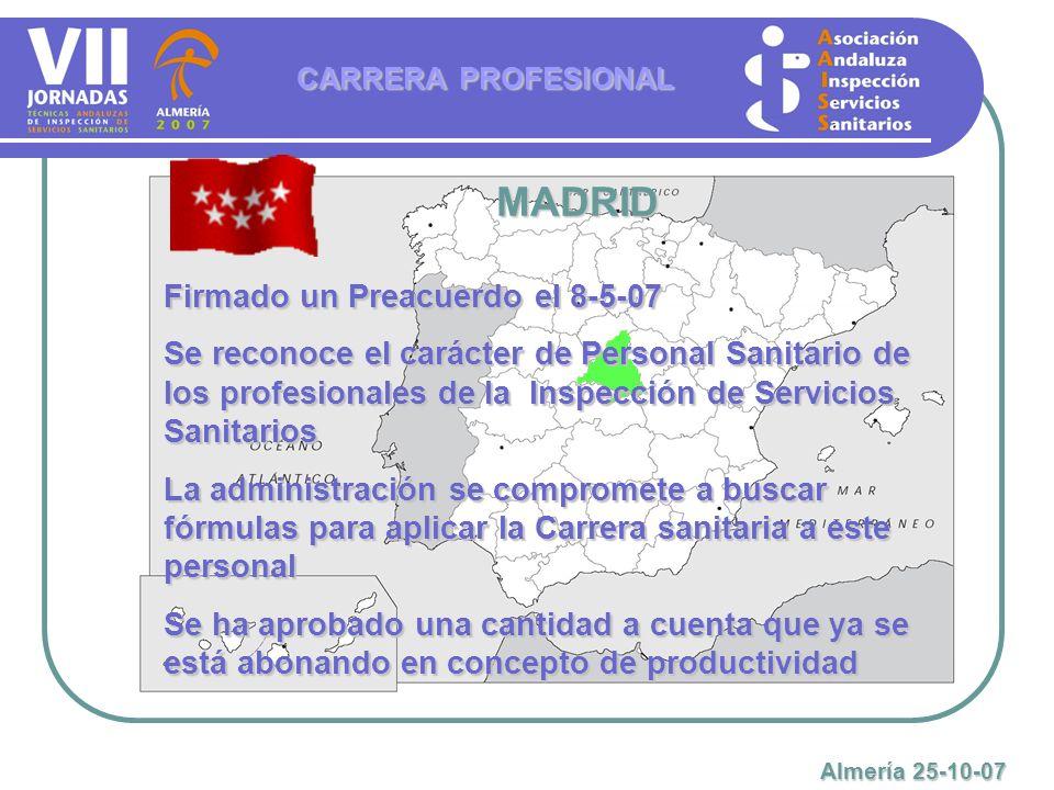 MADRID Firmado un Preacuerdo el 8-5-07 Se reconoce el carácter de Personal Sanitario de los profesionales de la Inspección de Servicios Sanitarios La