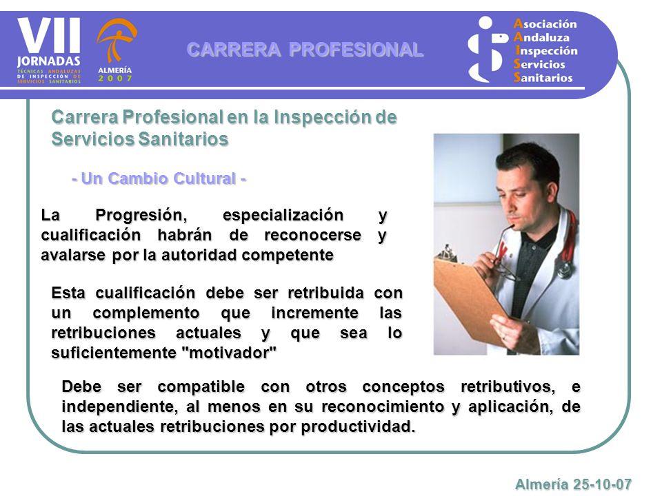 Carrera Profesional en la Inspección de Servicios Sanitarios La Progresión, especialización y cualificación habrán de reconocerse y avalarse por la au