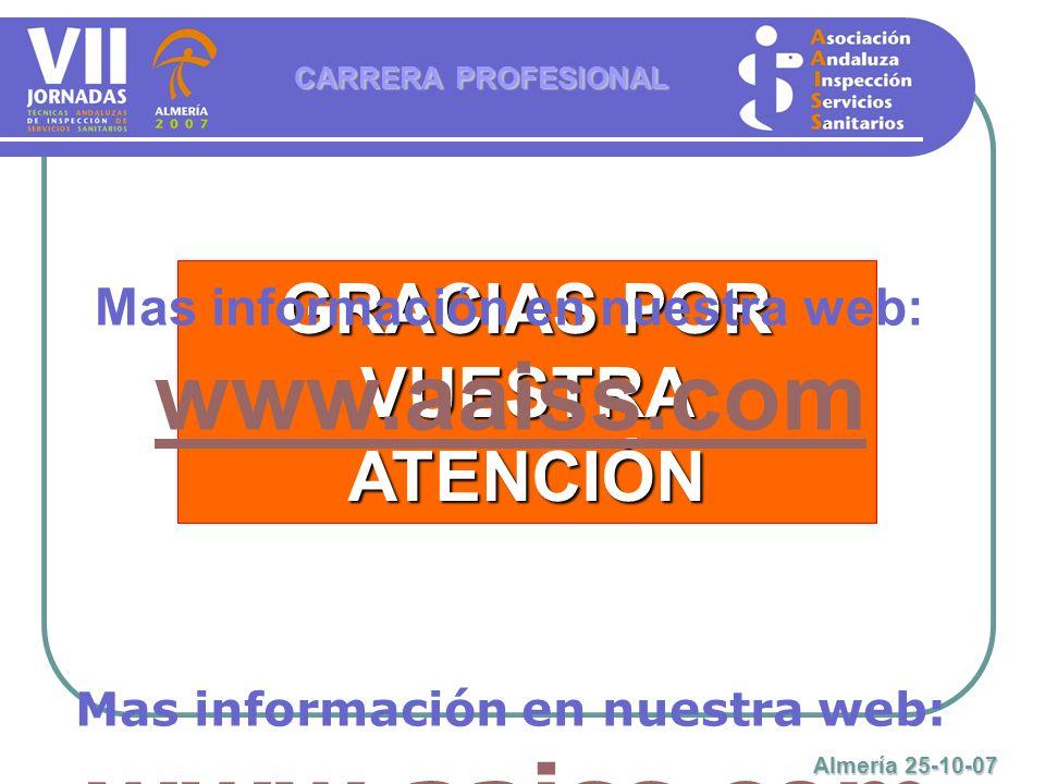 GRACIAS POR VUESTRA ATENCIÓN CARRERA PROFESIONAL Almería 25-10-07 Mas información en nuestra web: www.aaiss.com www.aaiss.com Mas información en nuest