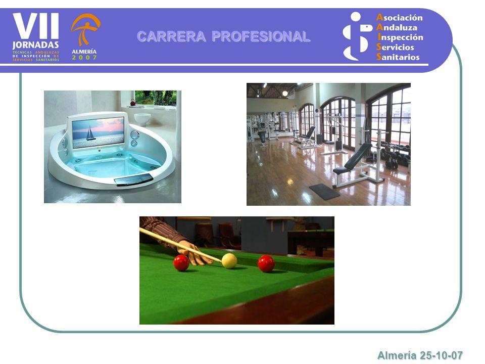 CARRERA PROFESIONAL Almería 25-10-07 Como en el caso de los profesionales especializados estatutarios, existe una marcada imposibilidad de progreso profesional.