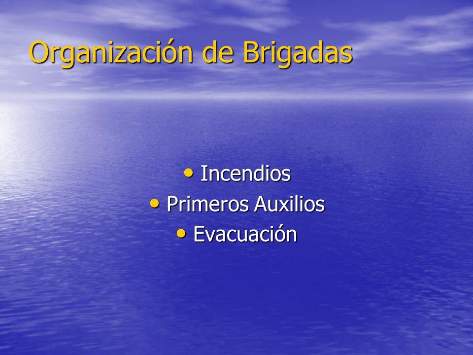 Organización de Brigadas Incendios Incendios Primeros Auxilios Primeros Auxilios Evacuación Evacuación