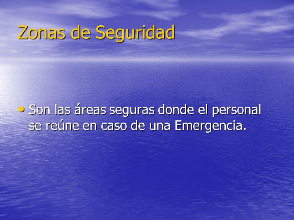 Zonas de Seguridad Son las áreas seguras donde el personal se reúne en caso de una Emergencia. Son las áreas seguras donde el personal se reúne en cas