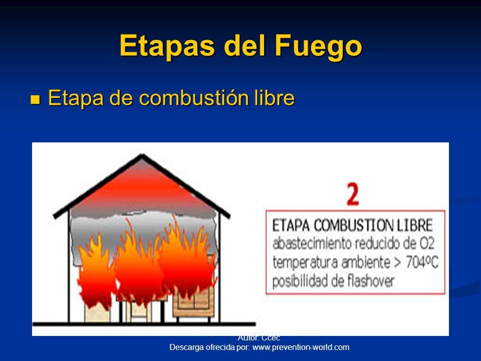Autor: Ccec Descarga ofrecida por: www.prevention-world.com Etapas del Fuego Etapa Inicial o incipiente. Etapa Inicial o incipiente.