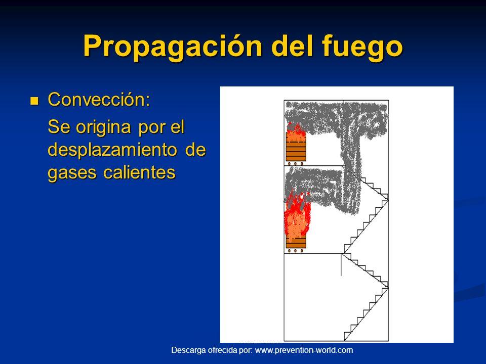 Autor: Ccec Descarga ofrecida por: www.prevention-world.com Propagación del fuego Conducción: Conducción: Se origina a través de estructuras que pueda