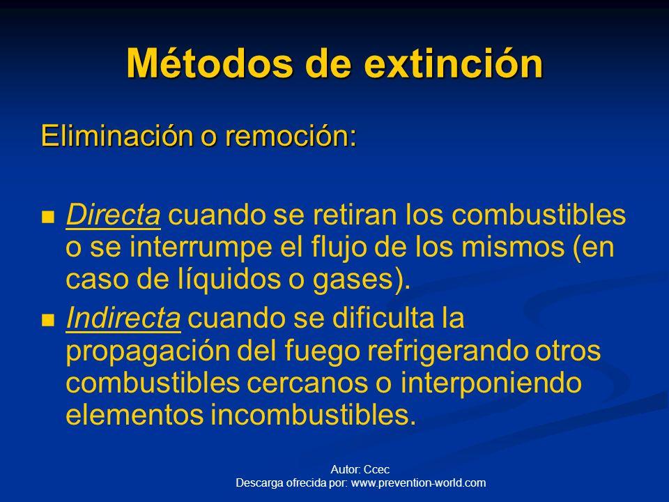 Autor: Ccec Descarga ofrecida por: www.prevention-world.com Métodos de extinción Sofocación: Se consigue recubriendo el combustible para impedir su co