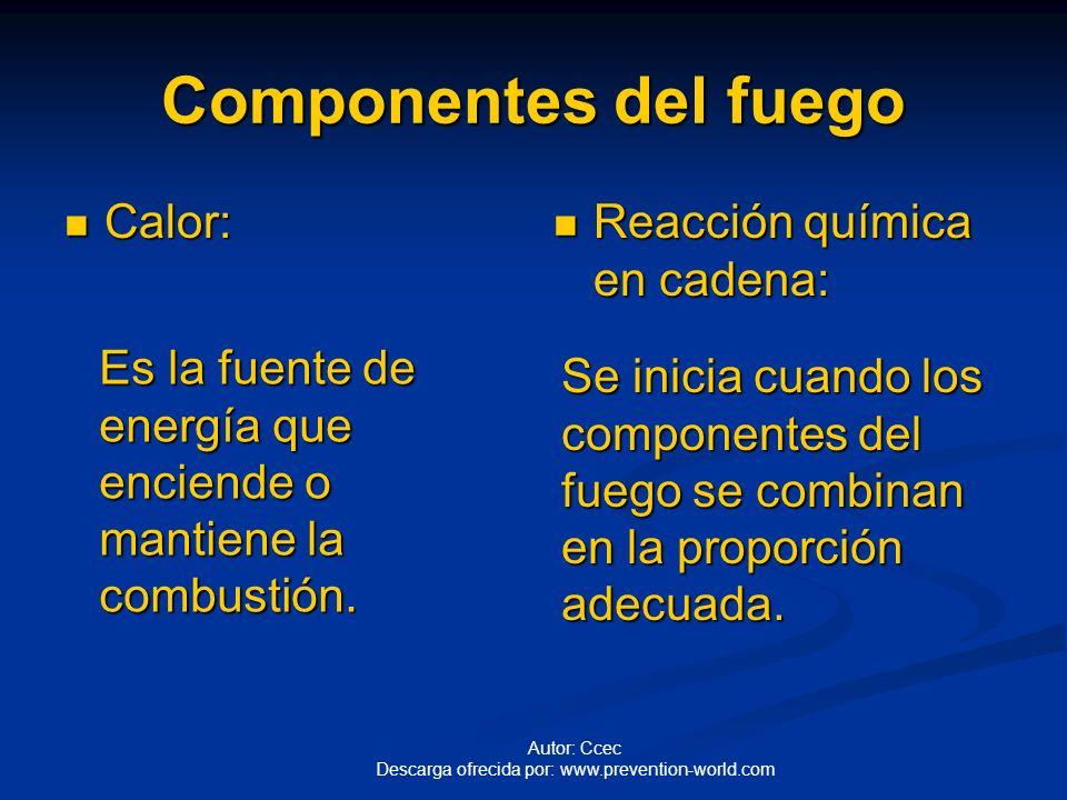 Autor: Ccec Descarga ofrecida por: www.prevention-world.com Componentes del fuego Oxígeno: Oxígeno: S Se encuentra en la atmósfera en una proporción p