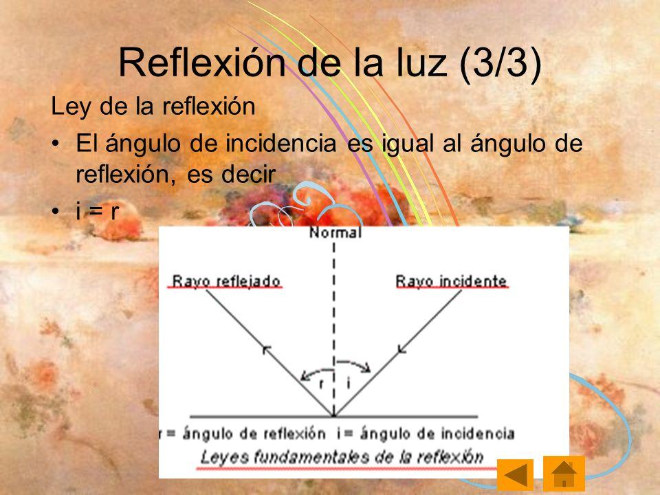 Reflexión de la luz (3/3) Ley de la reflexión El ángulo de incidencia es igual al ángulo de reflexión, es decir i = r
