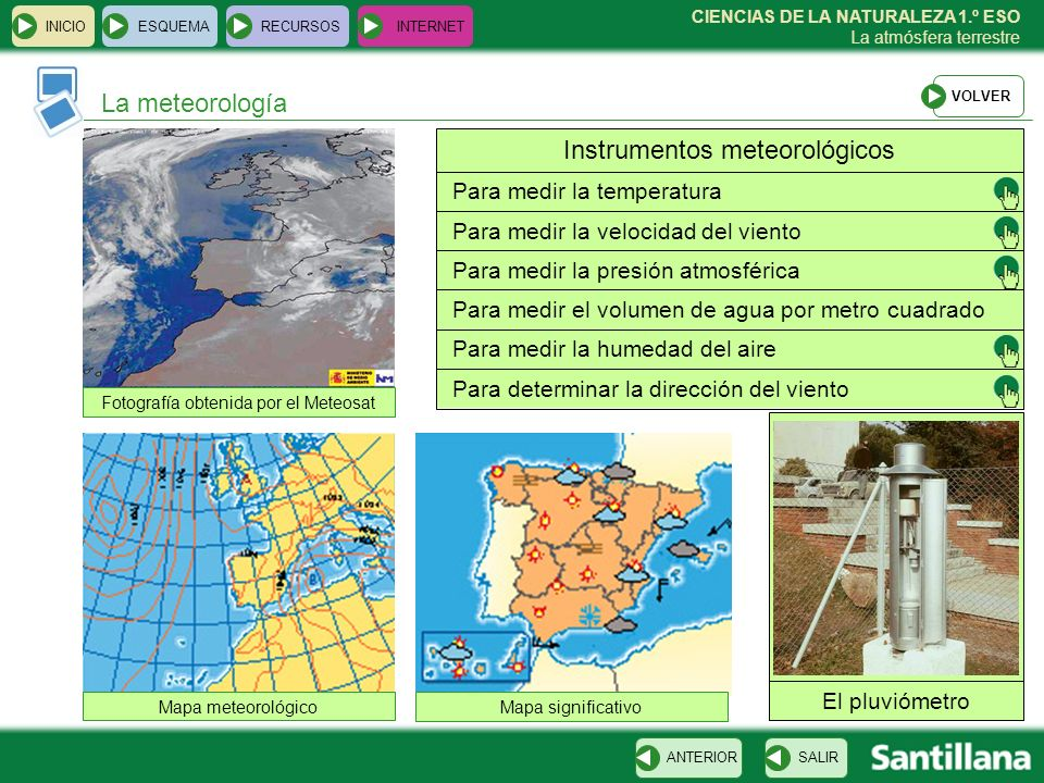 CIENCIAS DE LA NATURALEZA 1.º ESO La atmósfera terrestre La meteorología INICIOESQUEMARECURSOSINTERNET SALIRANTERIOR Fotografía obtenida por el Meteos