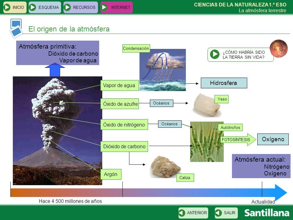 CIENCIAS DE LA NATURALEZA 1.º ESO La atmósfera terrestre INICIOESQUEMARECURSOSINTERNET La atmósfera de Venus SALIRANTERIOR Composición de la atmósfera 98 % dióxido de carbono Efecto invernadero Temperatura: 480 ºC + Agua + óxidos de azufre Nubes de ácido sulfúrico VOLVER